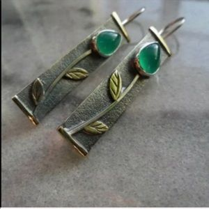 Jewelry - ART DECO VTG STYLE EARRINGS GILDED FLOWERS